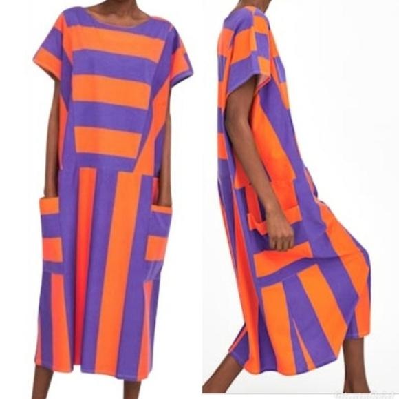 Zara Dresses & Skirts - Zara Block Striped Midi Dress Orange Purple